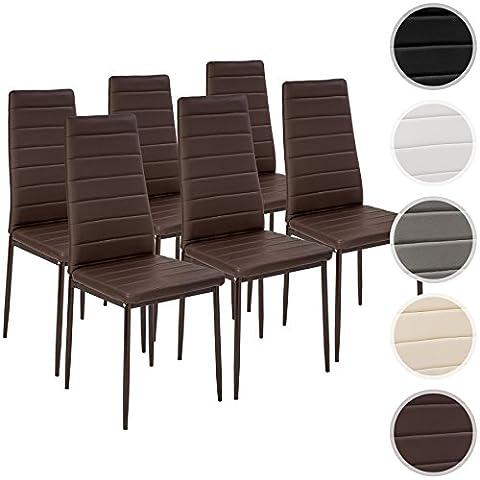 TecTake Lot de chaise de salle à manger 41x45x98,5cm - diverses couleurs et modèles au choix - (6x Marron | No. 401849)