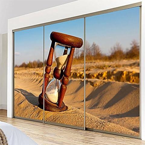 Yazi personalizzato misura Closet Adesivi decorativi autoadesivi impermeabile per porta scorrevole Time-Clessidra