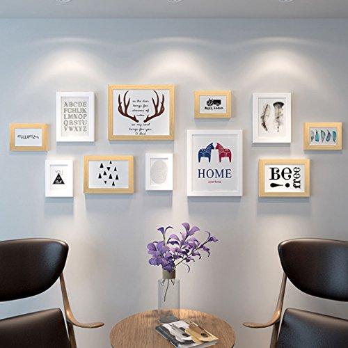 Unbekannt Bilderrahmen Fotorahmen-Wand-Galerie-Kit enthält: hängende Wand-Schablone, Rahmen, Kunst-Malerei-Kern (Farbe : White+Wood Color)