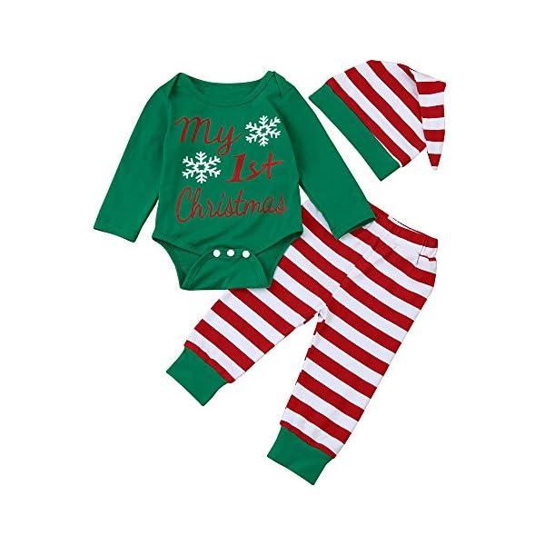 Navidad Bebe Ropa,Fossn Bebé Niña Niño Monos 'my 1st Christmas ' + Pantalones a Rayas + Sombrero 1