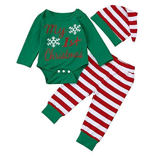 3 PCS Natale Costume Bambino Neonato Ragazza Ragazzo Pagliaccetto Top + Pantaloni + Cappello Partito del Vestito Pigiami da Regalo di Natale per La Famiglia