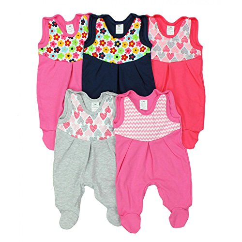 TupTam Baby Strampler mit Print Strampelanzug 5er Pack, Farbe: Mädchen, Größe: 62