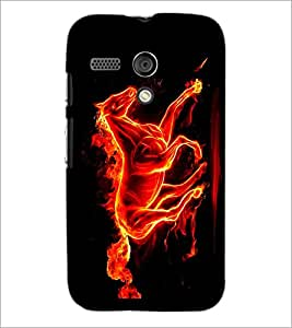 PrintDhaba Horse on Fire D-1189 Back Case Cover for MOTOROLA MOTO G (Multi-Coloured)