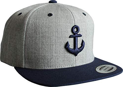 Cap: Anker- Flexfit Snapback - Urban Streetwear - Männer Mann Frau-en - Baseball-cap - Hip-Hop Rap - Mütze - Kappe - Kapitän Seemann - Angler - Hamburg - Basecap (Grau)
