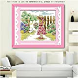 ultifit (TM) Lovely Girl Patrón Kit de bordado hecho a mano de punto de cruz de punto de Set para decoración del hogar hecho a mano Imagen para decoración