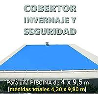 Cobertor, lona, cubierta, toldo,… de invierno para cubrir una piscina de 4 x 9,5 m. Medidas totales del cobertor: 4,30 x 9,80 m. Incluye: Cobertor + Anclajes escamoteables 100% inox + Tensores de 8 mm + Saco de almacenaje. Color: Azul y negro en el reverso. Opacidad total – Forma: rectangular.