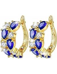 Jewels Galaxy Exclusive Sparkling Luxuria Flowerets Top Quality Dark Blue Vine Swiss Cubic Zirconia 18K Rose Gold...