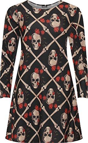 WEARALL - Damen Plus Schädel Druck Halloween Schick Kostüm Lang Hülle Damen Schaukel Kleid - Schwarz - 50-52 (Halloween Kostüme Für Frauen Über 50)