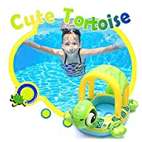 FOONEE Sunshade Baby Pool Training Swimming Float, Aged 6-36 Months Baby Swimming Float Canopy, Swimming Float Ring For Babies Kids Boy Girl Inflatable Pool Toys