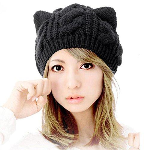 Beikoard Damen Winter Mode Cat Ears Hanf Blumen gestrickter Hut Strickmütze Beanie Hut (Schwarz) (Cat In The Hut Kostüm Mädchen)