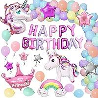 Unicornio Decoraciones Cumpleaños de Fiesta para Niños, Enormes 3D Globos de Unicornio Cumpleaños Estandarte,Globos de Látex Macaron, Suministros de Cumpleaños Individuación para Niños Niñas
