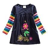 VIKITA Mädchen Blumen Langarm Baumwolle Kleid 2-8 Jahre H5802Blau 7T