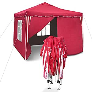 Garden Gazebo Sylt, II, pop-up pavilion, 3 x 3 m, rosso/bianco, with sidewalls, waterproof Oxford 200D fabric, bag inclusive