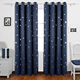 Deconovo Star Foil Printed Eyelet Blackout Curtains for Boys Bedroom with Two Matching Tie Backs 46 x 90 Inch Two Panels Navy Blue