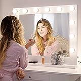 Chende Grand Miroir Maquillage Hollywood Eclairé, Miroir Lumineux Blanc avec Ampoules LED, Miroir Mural pour Coiffeuse,Gratuitement LED Réglable Cadeau pour Femme, Fille(L80 x H65 cm) (8065)