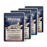 Marca Amazon - Lifelong Comida húmeda para gatos adultos sin cereales Selección de carne en gelatina-pato,pollo,pavo y vacuno, 2,4 kg (28 bolsitas x 85g)