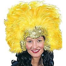 Amakando Accesorio Samba Diadema con Plumas amarilly y Dorado Elemento Bailarina brasileña Bisutería Cabello Plumas Complemento