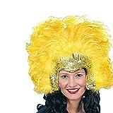 Amakando Samba Kopfschmuck Federkopfschmuck Gold-gelb Accessoire Brasilianische Tänzerin Federschmuck Rio Haarschmuck Federn Kostümzubehör Sambatänzerin