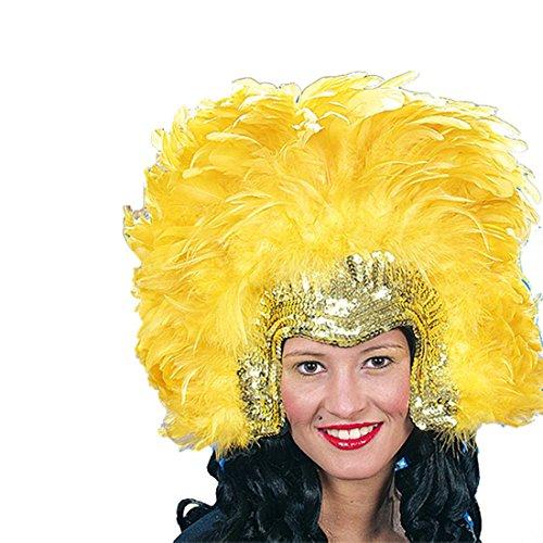 Amakando Samba Kopfschmuck Federkopfschmuck Gold-gelb Accessoire Brasilianische Tänzerin Federschmuck Rio Haarschmuck Federn Kostümzubehör (Brasilianische Tänzerin Kostüm)