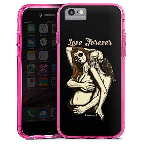 Apple iPhone X Bumper Hülle Bumper Case Glitzer Hülle Skull Love Skull Totenkopf Bumper Case transparent pink