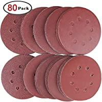 GeMoor 80PCS Sanding Discs Pads, Hook and Loop 40 60 80 100 120 150 180 240 320 400 Grits 8-Holes Sandpaper Assorted for Random Orbital Sander .