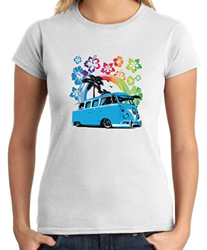Cotton-Island-T-shirt-para-las-mujeres-TB0440-Camionnette-Hawaii-Volkswagen-Classique-Talla-M
