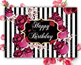 Allenjoy Toile de Fond pour fête d'anniversaire Motif Roses et Rayures Noir/Blanc 2,1 x 1,5 m...