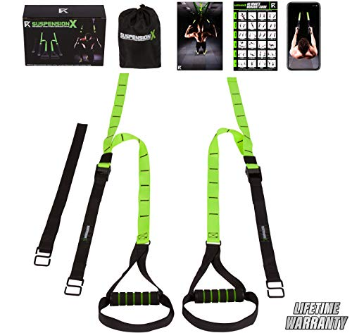 Fitness Kings Suspension X Home Gym System - Bodyweight Resistance Suspension Straps + Workout Program Fitness Guide & Videos