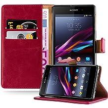 Cadorabo - Funda Estilo Book Lujo para Sony Xperia Z1 con Tarjetero y Función de Suporte - Etui Case Cover Carcasa Caja Protección en ROJO-BURDEOS