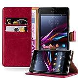 Cadorabo Hülle für Sony Xperia Z1 - Hülle in Wein ROT – Handyhülle im Luxury Design mit Kartenfach und Standfunktion - Case Cover Schutzhülle Etui Tasche Book