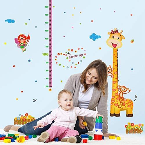 Sticker mural Belle Girafe Singe Grandir Hauteur Mesure Règle Pépinière Enfant Enfants Maternelle Décor Amovible Sticker Stickers Muraux Murale Dc28