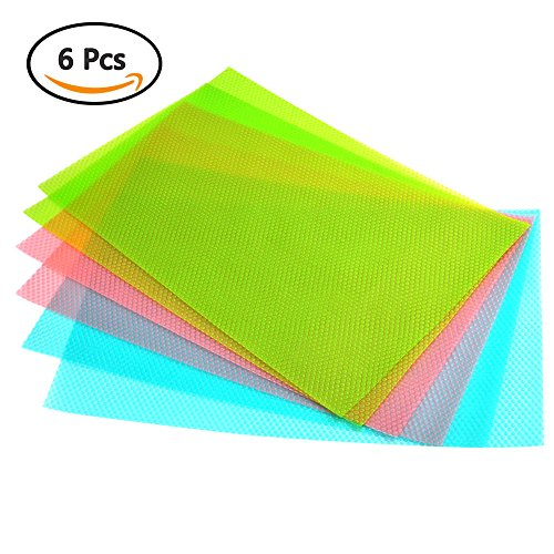 ATPWONZ 6er Antibakterielle Kühlschrankmatten Matten entziehen Feuchtigkeit und Gerüch rutschfest ,abwaschbar und zuschneidbar Kühlschrank Matte 29 x 45 cm 3 verschiedene Farben