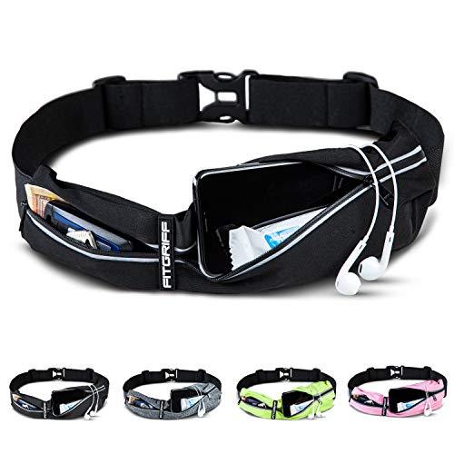 Fitgriff® Laufgürtel für Handy - Sportgürtel, Fitnessgürtel, Lauftasche, Running Belt, Hüfttasche für Jogging, Laufen, Sport, Fitness (Black, One Size)