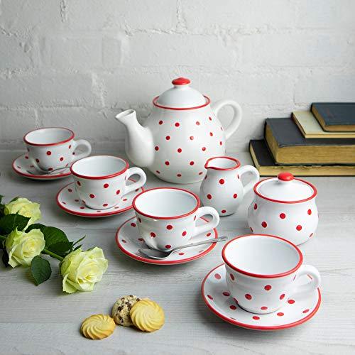 City to Cottage | Service à thé pour Quatre | Blanc à Pois Rouges en céramique Fait et Peint à la Main | Grande théière 1,7L 4-6 Tasses, Pot à Lait, sucrier, Quatre Tasses et sous Tasses
