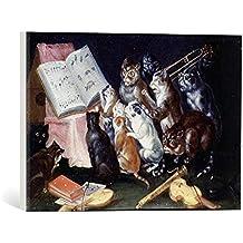 """Cuadro en lienzo: Ferdinand van Kessel """"A Musical Gathering of Cats"""" - Impresión artística de alta calidad, lienzo en bastidor, 45x30 cm"""