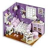 DAN DISCOUNTS Handgefertigt Holz Miniatur Puppenhaus Geschenk Mini Haus DIY Dollhouse Kit Moebel Mit Abdeckung und LED-Licht