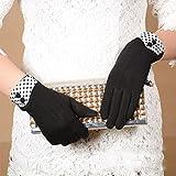 Inverted Fine velvet Handschuhe Damen mit zwei Knöpfen anti warm kalt Herbst und Winter Touchscreen Handschuhe einen.Kreislauf.durchmachentreibende , black
