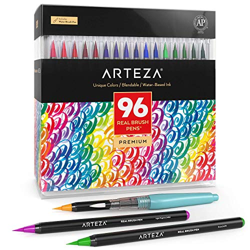 Arteza Caja de 96 rotuladores de pincel   Pinceles con tinta de agua   12 colores individuales   para caligrafía y coloreado