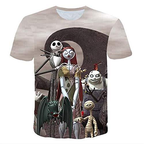 mmer Männer T-Shirts 3D Gedruckt Tier t-Shirt Kurzarm Lustige Design Casual Tops Tees Männlich,Halloween Grey Doll Grey. 2XL ()