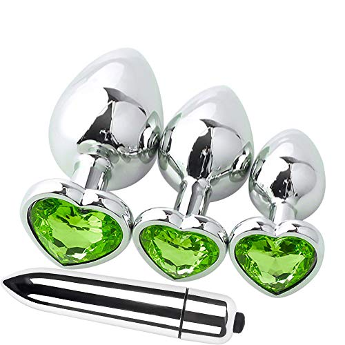 Hinterhof-Analplug + Silber Mini-Vibrator (Single Frequency), Malloom 4 Stück Heart Shaped Base mit Schmuck Birth Plugs Anal Mini Jump Eier Trainer Spielzeug Cup-shaped Ring