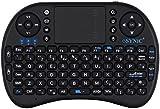 ESYNiC Mini Wireless Keyboard 2.4G Mini Wireless XBMC Keyboard Touchpad Mouse Combo - Multi-media Portable Handheld Android Keyboard- for PC Google Android Smart TV Tivo Box Media Mini TV PC Stick HTPC IPTV Laptop Raspberry PI 3 PS3- British Layout-Black