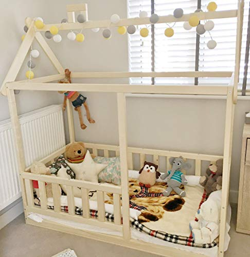 Kleinkind-Hausbett, Montessori-Bett, Für die Matratzengröße 140 x 70 cm. Die Optionen können Sie andere Bettgrößen wählen. -