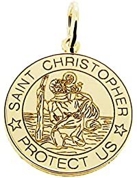 "Solid 9ct Yellow Gold 21mm Round Engraved St Christopher Pendant Necklace With Optional 9ct Yellow Gold 1.3mm Wide Diamond Cut Curb Chain In Gift Box (available in 16"" to 24"")"