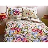 3 pièces MAKO SATIN drap blanche bariolé 155x220 cm à rallonge rouge bleu violet!