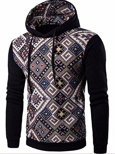 Men's Fashion Stripe Prints Slim Fit Pullover Hoodies AliceBlue