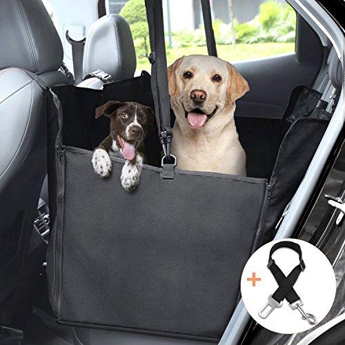 GHB Coprisedile per Cani Auto Coprisedile Amaca Copertura Impermeabile con Doppio-Zip per Sedile Posteriore Auto Universale per Cane Animali Domestici Pet ecc - Nero