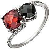 Ring Damen 14 Karat (585) Weißgold einem Onyx und 24 Diamant-Brillanten Granat 1 null 56 (17.8)