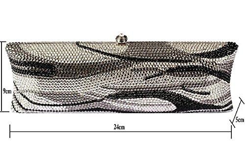 Lady Abendessenbeutel Kristall-Diamant-Diamant-Portemonnaie langen Kleid Pack glänzend handlich Bankett Pack Silver