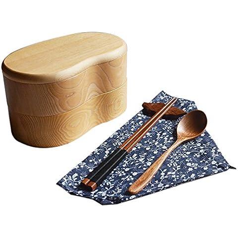 ROUFU Fatta a mano, nessuna vernice, doublelayer, legno, scatole di pranzo, lunch box, set creatività,