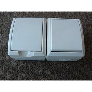 REV Ritter 0510263555 AquaForm AP Kombi Aus-Wechselschalter und Steckdose, weiß